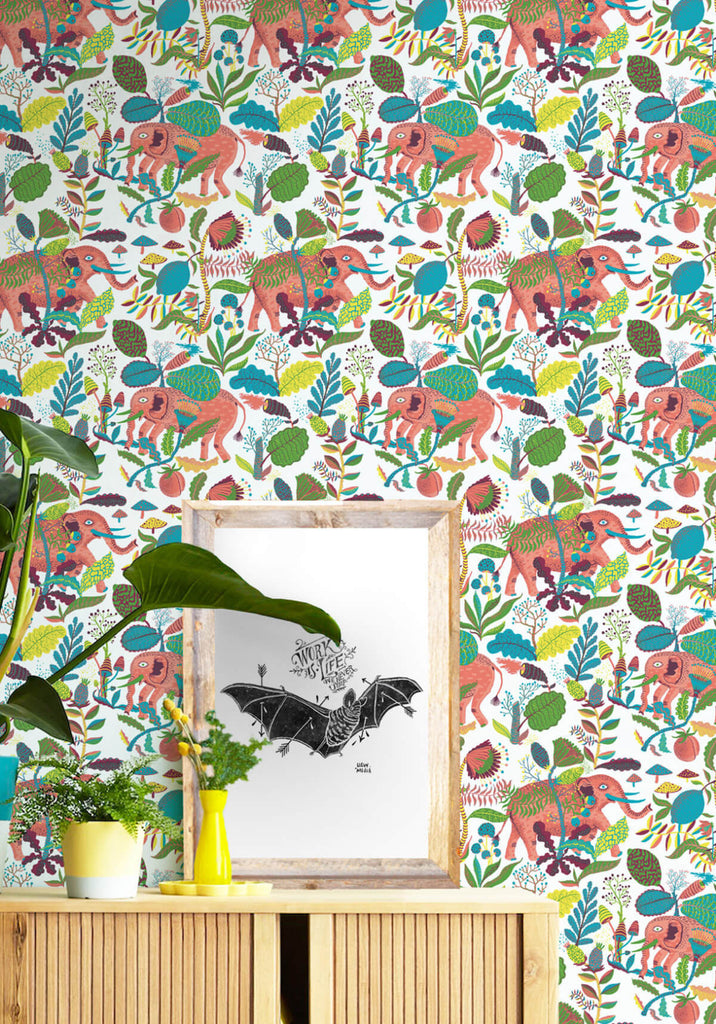 Elephants wallpaper in peaches from the kingdom home for Home wallpaper collection