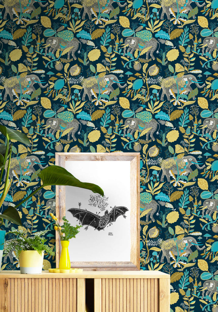 Elephants Wallpaper in Saffron Blue from the Kingdom Home Collection by Milton & King