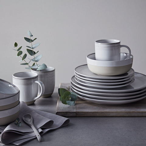Brushed Glaze 16-Piece Set in Soft White by Ellen DeGeneres