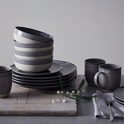 Brushed Glaze 16-Piece Set in Charcoal Grey design by Ellen DeGeneres