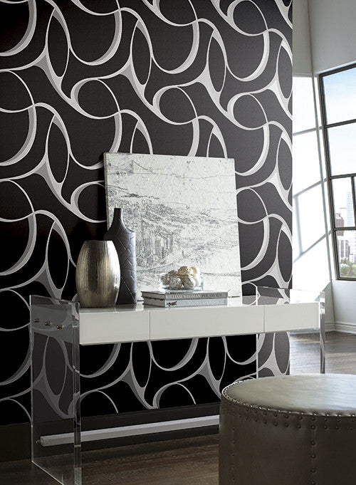 Elliptical Large Geo Wallpaper in Black, Grey, and Silver by York Wallcoverings