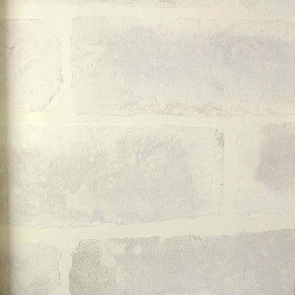 Embossed Brick Wallpaper in White by Julian Scott