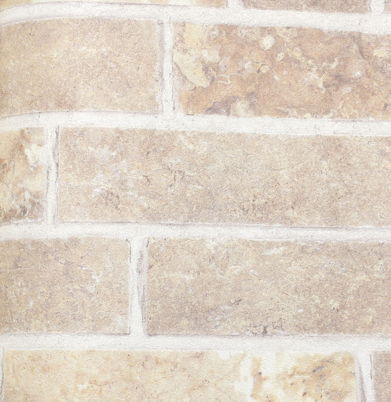 Embossed Faux Brick Wallpaper in Beige by Julian Scott