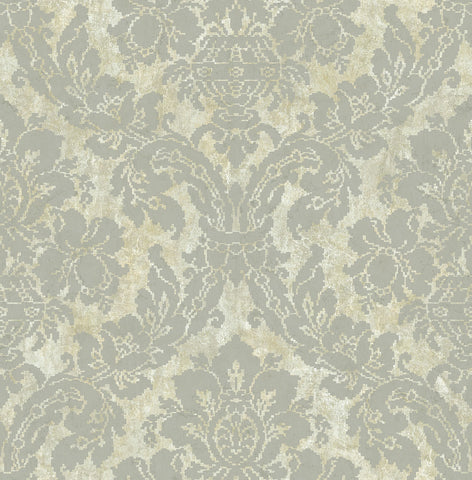 Embroidered Damask Wallpaper in Cinder from the Nouveau Collection by Wallquest