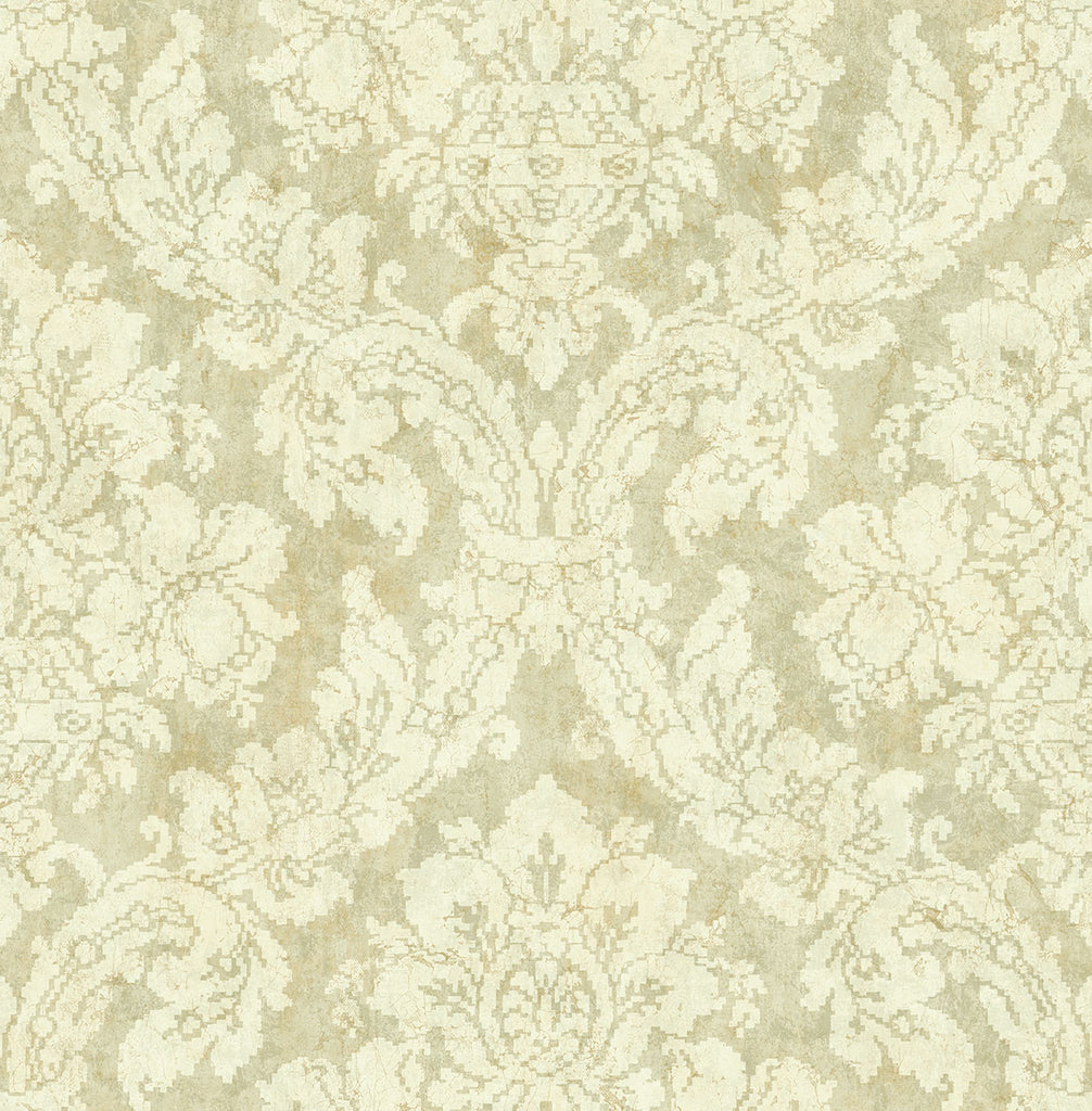 Embroidered Damask Wallpaper in Ochre from the Nouveau Collection by Wallquest