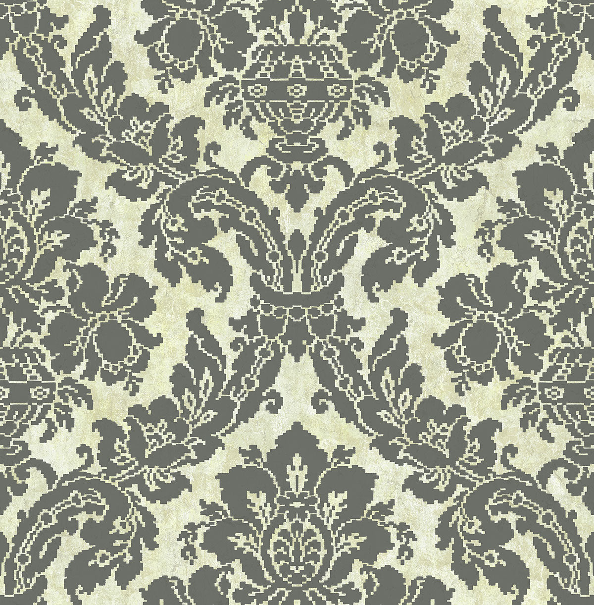 Wallpaper Classic Jacobean Floral in Warm Tones with Gold Wash Background