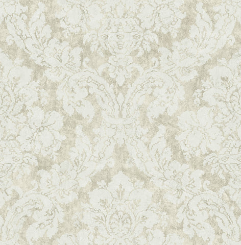 Embroidered Damask Wallpaper in Plated from the Nouveau Collection by Wallquest