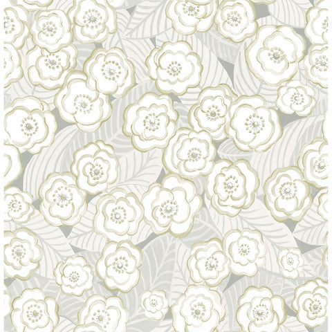 Emery Floral Wallpaper in Grey from the Bluebell Collection by Brewster Home Fashions