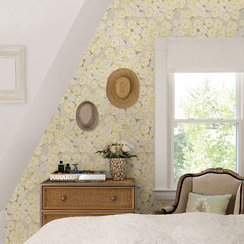 Emery Floral Wallpaper in Light Yellow from the Bluebell Collection by Brewster Home Fashions