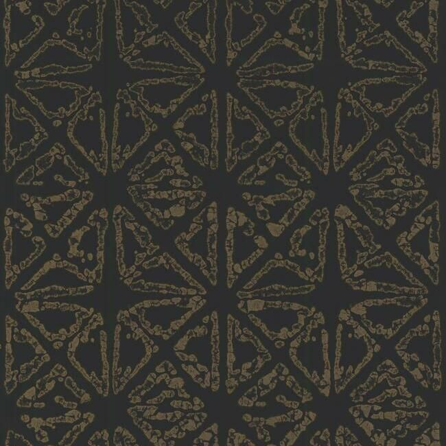 Sample Empire Diamond Wallpaper in Black and Gold from the Ronald Redding 24 Karat Collection by York Wallcoverings