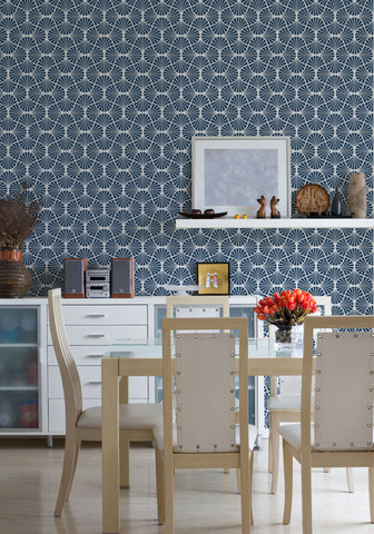 Empire Weave Wallpaper in Misty Blue by Milton & King