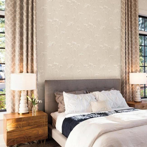 Enchanted Wallpaper in Cream from the Botanical Dreams Collection by Candice Olson for York Wallcoverings