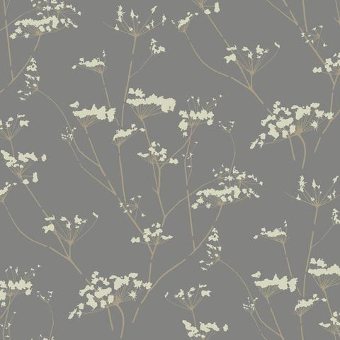 Enchanted Wallpaper in Silver from the Botanical Dreams Collection by Candice Olson for York Wallcoverings