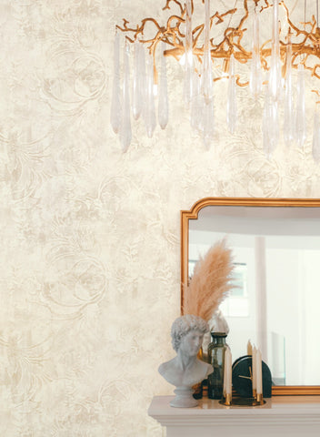 Entablature Scroll Wallpaper in Cream from the Impressionist Collection by York Wallcoverings