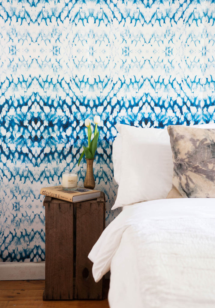 Entomology Wallpaper in Indigo from the Shibori Collection by Milton & King