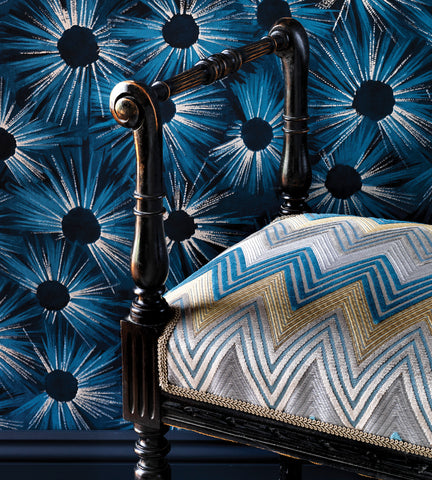 Estella Wallpaper in Midnight Blue and Gilver by Nina Campbell for Osborne & Little