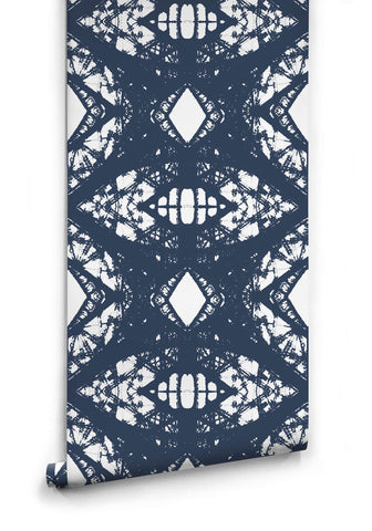 Sample Esther Wallpaper in Navy from the Ella & Sofia Collection by Milton & King
