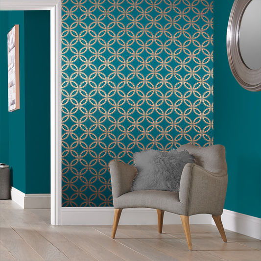 Eternity Wallpaper in Teal and Copper from the Exclusives Collection by Graham & Brown