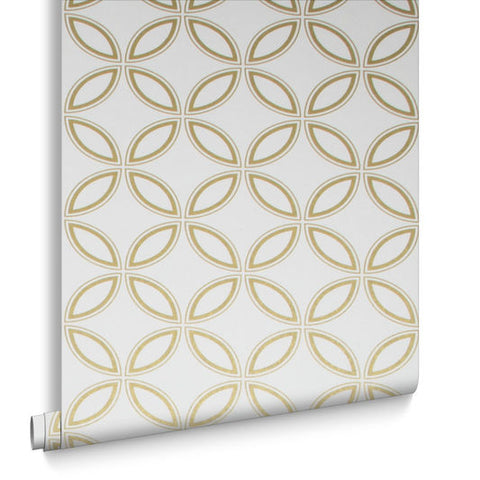 Eternity Wallpaper in White and Gold from the Exclusives Collection by Graham & Brown