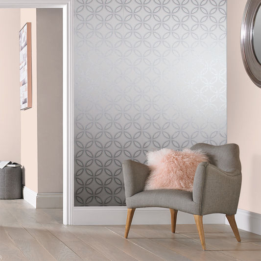 Eternity Wallpaper in White and Silver from the Exclusives Collection by Graham & Brown