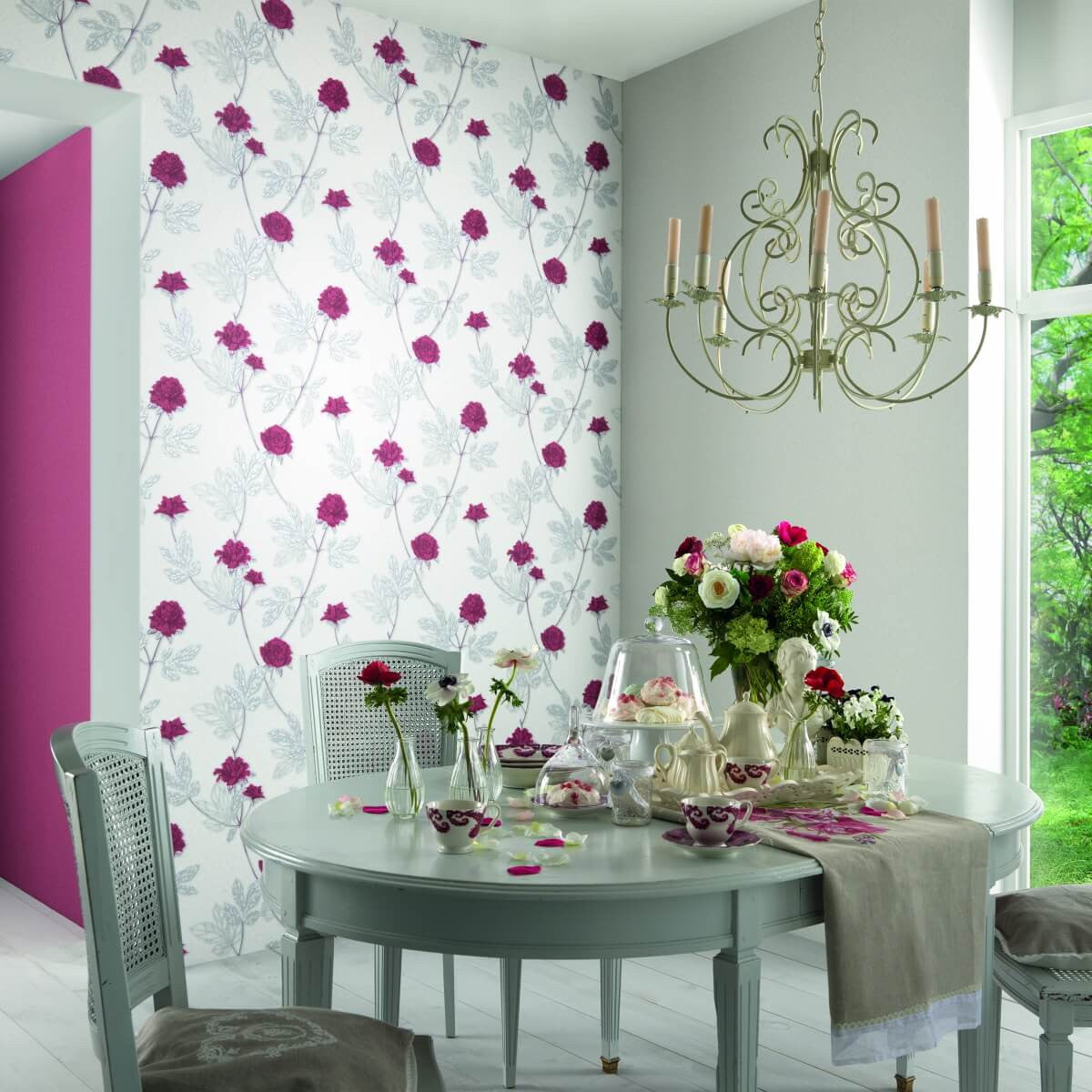 Ethan Floral Wallpaper In Grey And Silver Design By Bd Wall Burke