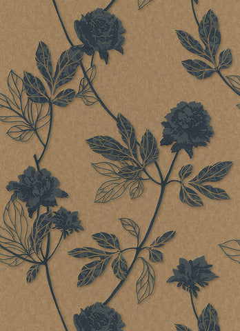 Ethan Floral Wallpaper in Brown and Bronze design by BD Wall