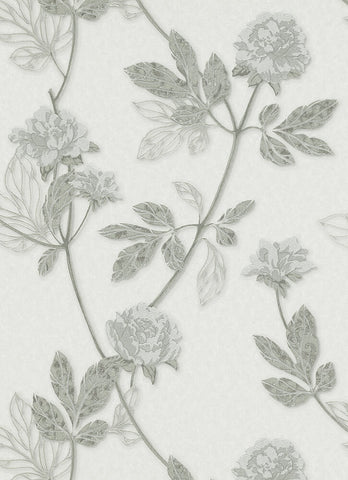Ethan Floral Wallpaper in Grey and Silver design by BD Wall