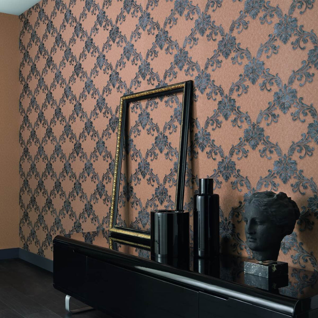 Etienne Ornamental Trellis Wallpaper design by BD Wall