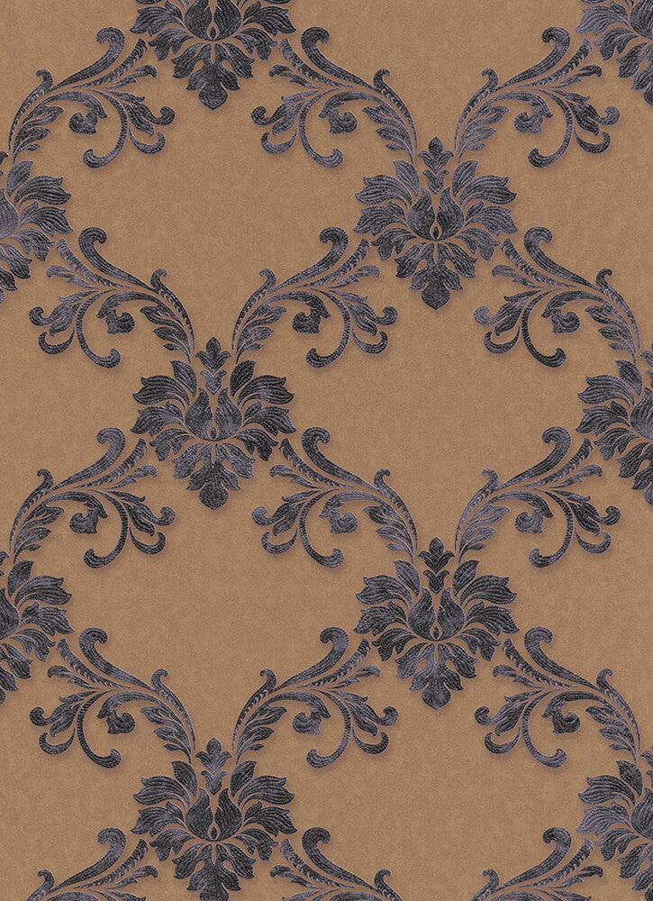 Sample Etienne Ornamental Trellis Wallpaper in Brown design by BD Wall