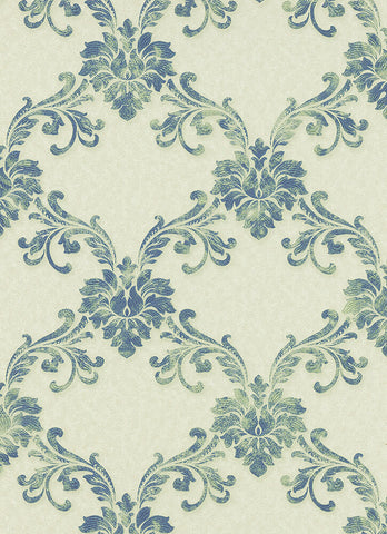 Etienne Ornamental Trellis Wallpaper in Green design by BD Wall