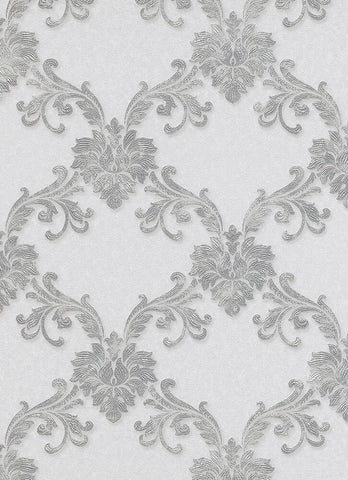 Etienne Ornamental Trellis Wallpaper in Grey and Silver design by BD Wall