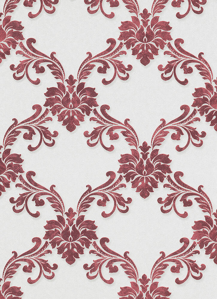 Sample Etienne Ornamental Trellis Wallpaper in Red design by BD Wall