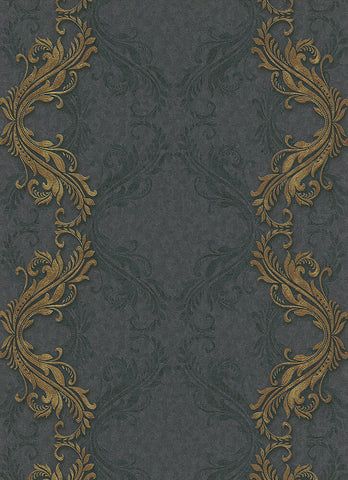 Etta Ornamental Scroll Stripe Wallpaper in Black and Gold design by BD Wall
