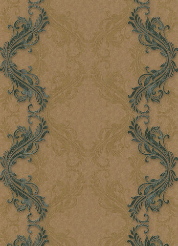 Etta Ornamental Scroll Stripe Wallpaper in Brown and Bronze design by BD Wall