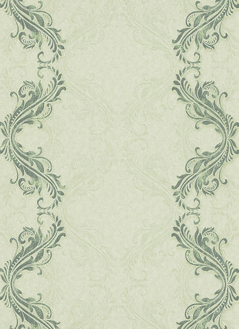 Etta Ornamental Scroll Stripe Wallpaper in Green design by BD Wall
