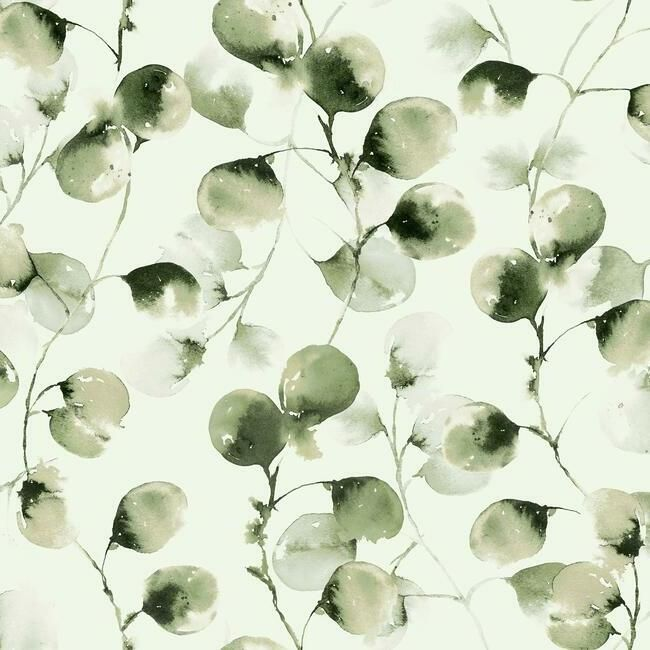 Eucalyptus Trail Wallpaper in Green by Antonina Vella for York Wallcoverings