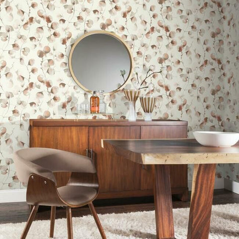 Eucalyptus Trail Wallpaper in Rust by Antonina Vella for York Wallcoverings