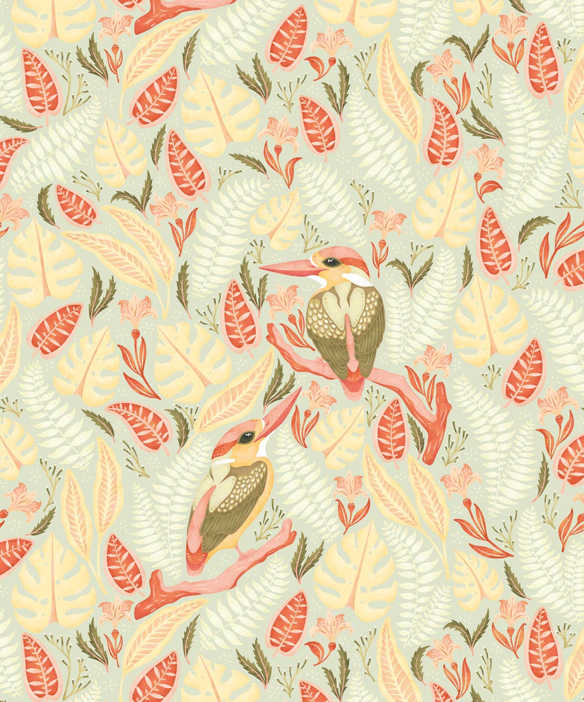 Exotic Kingfishers Wallpaper in Light from the Wallpaper Republic Collection by Milton & King