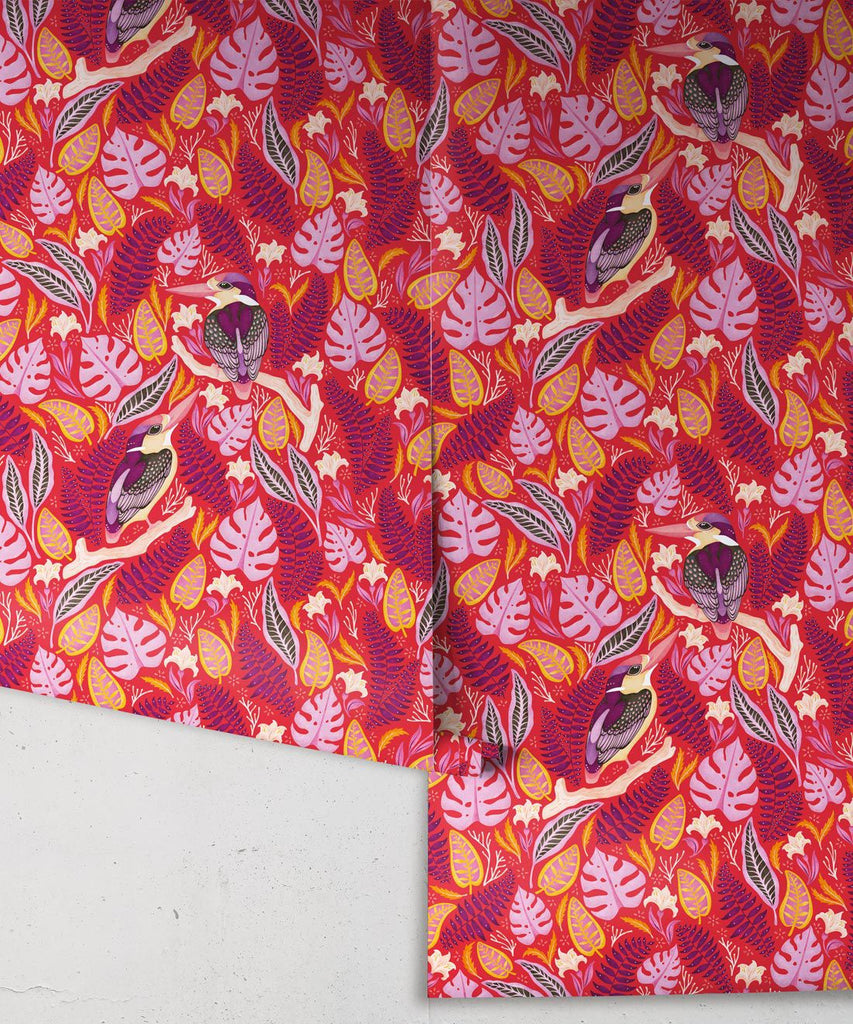 Exotic Kingfishers Wallpaper in Pink from the Wallpaper Republic Collection by Milton & King