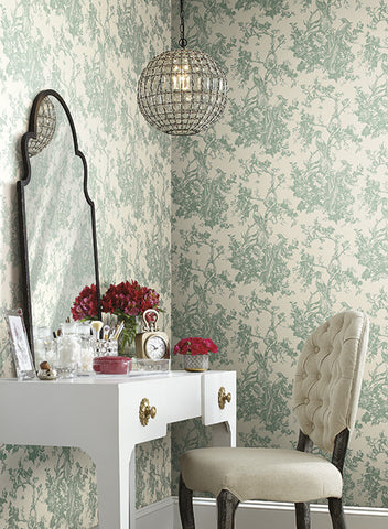 Exotic Plumes Wallpaper In Soft Green By Ashford House For York  Wallcoverings ...