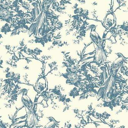Exotic Plumes Wallpaper in Blue by Ashford House for York Wallcoverings