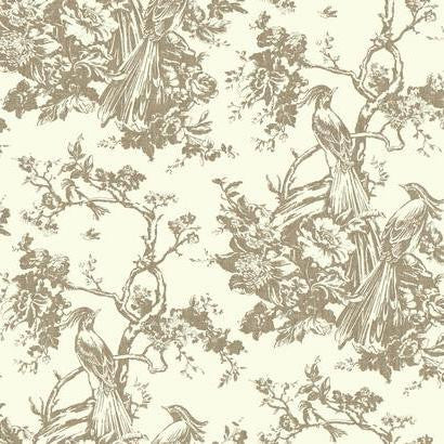 Exotic Plumes Wallpaper in Neutrals by Ashford House for York Wallcoverings