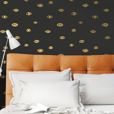 Eye See You Self Adhesive Wallpaper in Black and Gold by Bobby Berk for Tempaper