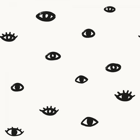 Eye See You Self Adhesive Wallpaper in White and Gloss Black by Bobby Berk for Tempaper