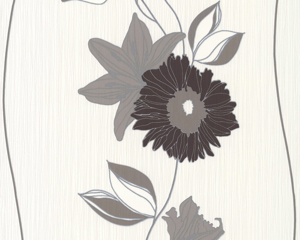 Sample Eyecatcher Floral Wallpaper in Brown and Cream design by BD Wall