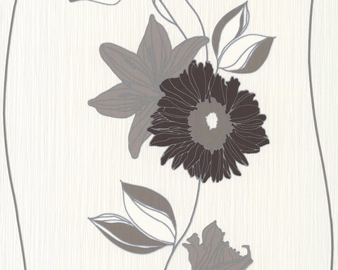 Eyecatcher Floral Wallpaper in Brown and Cream design by BD Wall