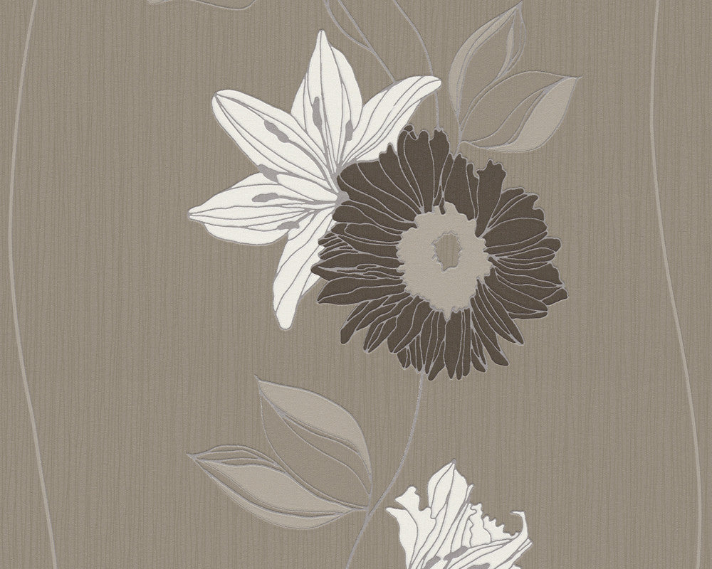 Sample Eyecatcher Floral Wallpaper in Brown design by BD Wall