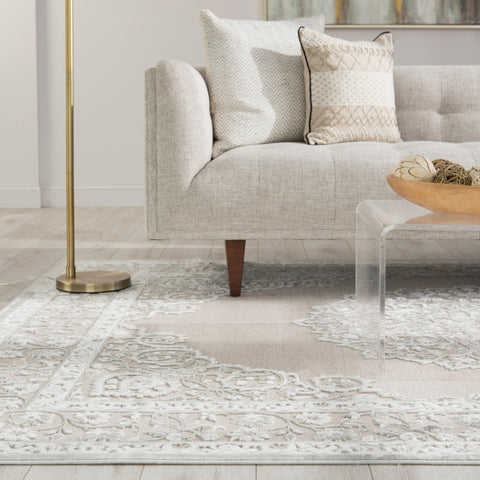 Malo Medallion Gray & White Area Rug