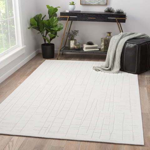 Palmer Abstract White & Cream Area Rug design by Jaipur