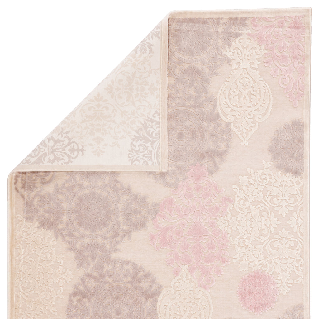 Wistful Damask Ivory & Pink Area Rug